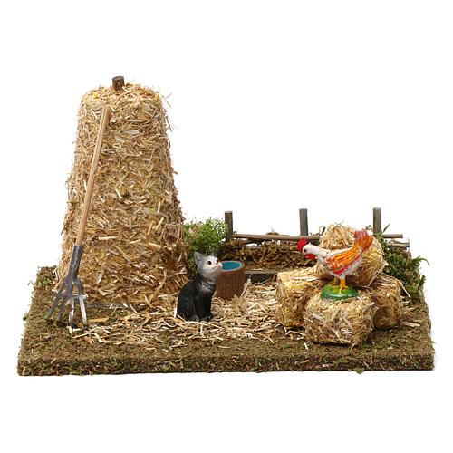 Strohhaufen mit Katze und Hahn 10x20x15 cm für 9-10 cm Krippe 1