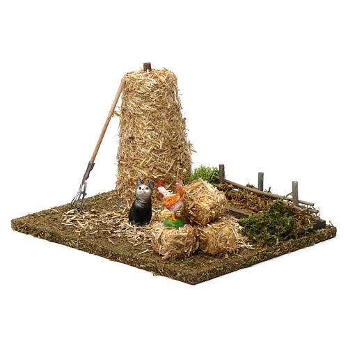 Haystack with cat and cock 10x20x15 cm for Nativity Scene 9-10 cm 2