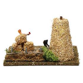 Meule de foin avec chat et coq 10x20x15 cm pour santons crèche 9-10 cm s4