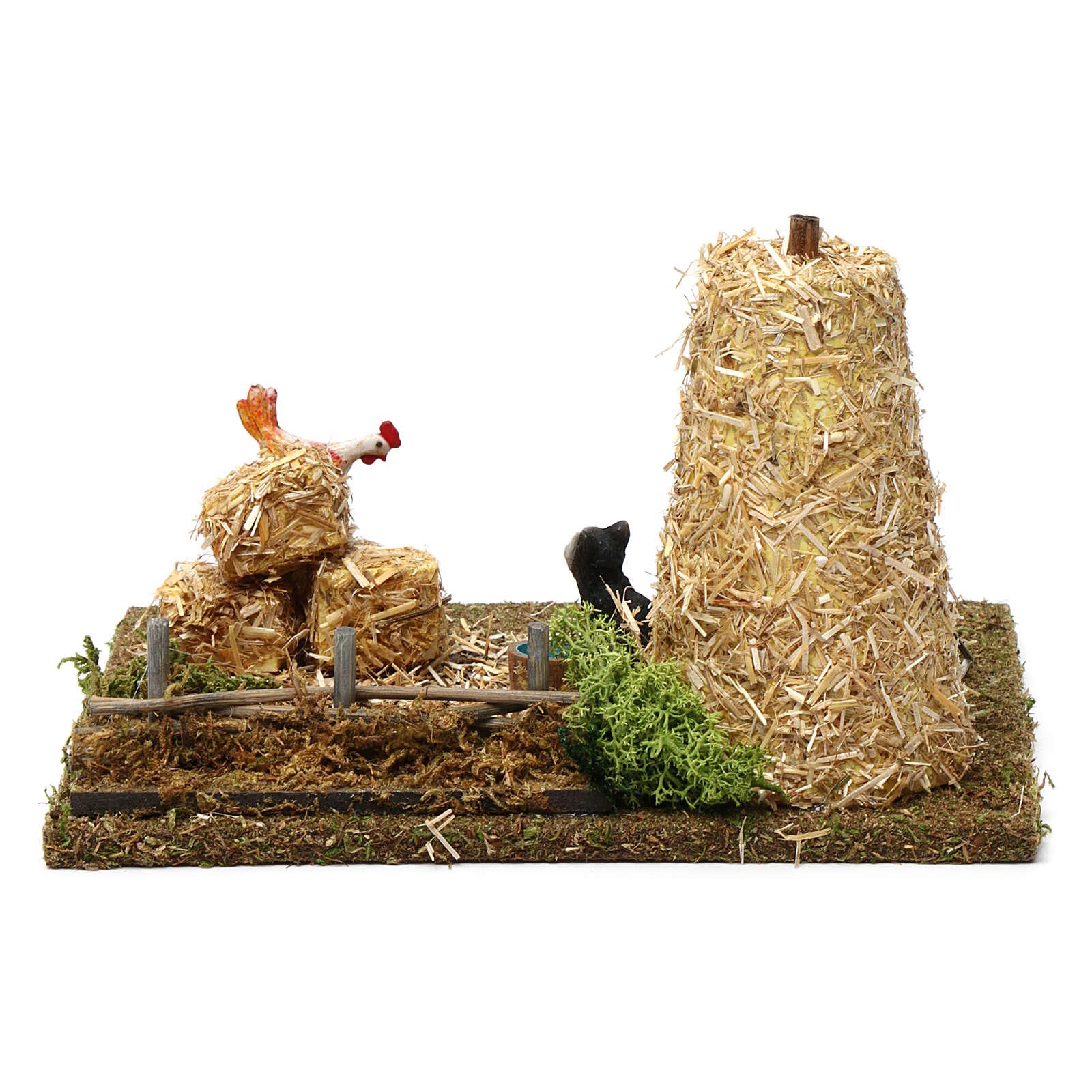 Pagliaio con gatto e gallo 10X20X15 cm per figure presepe 9-10 cm 3