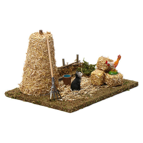 Haystack with Cat and Rooster 10X20X15 cm for 9-10 cm Nativity figures 3