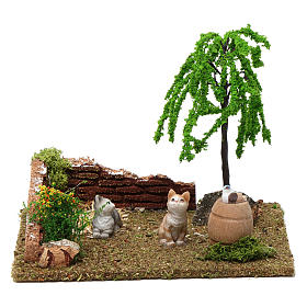 Corner with cats and weeping willow 15x20x15 cm for Nativity Scene 8-10 cm s1