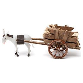 Carro con burro gris claro 10x20x10 cm para belenes cm s3