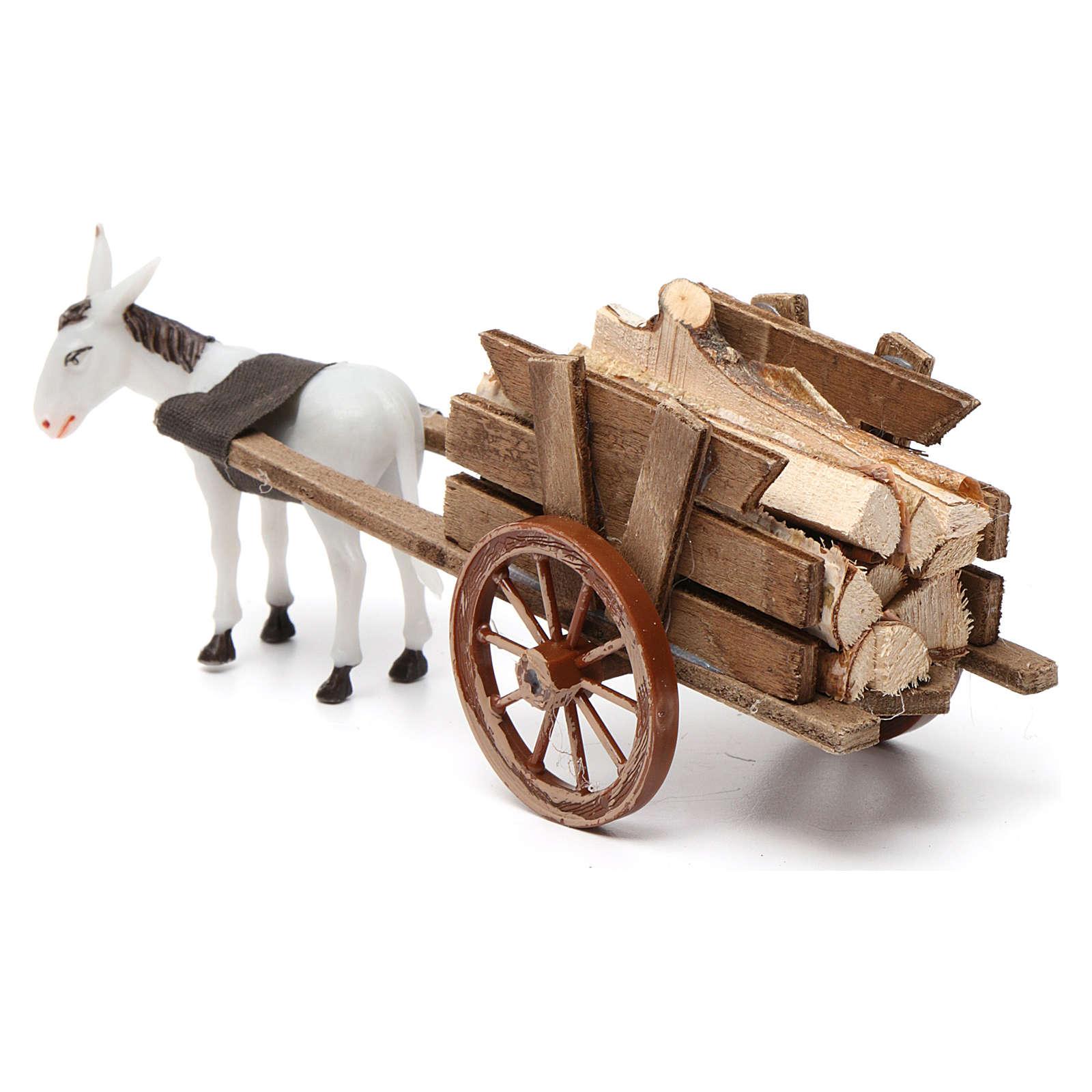 Charrette avec âne gris clair 10x20x10 cm pour crèche 8 cm 3