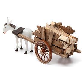 Charrette avec âne gris clair 10x20x10 cm pour crèche 8 cm s4