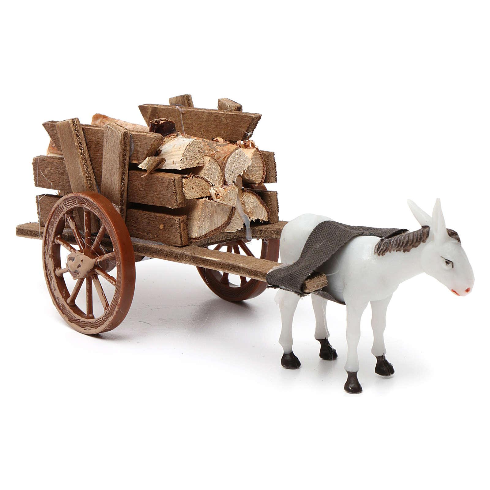 Donkey pulling a cart full of wood for Nativity Scene 10x20x10 3
