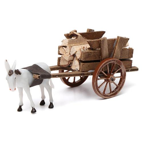 Donkey pulling a cart full of wood for Nativity Scene 10x20x10 1