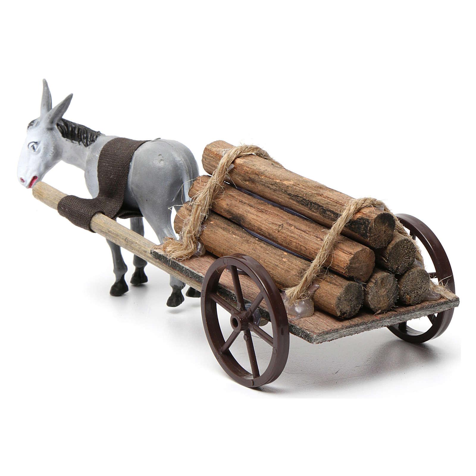 Cart with dark grey donkey 10x20x20 cm for Nativity Scene 8 cm 3