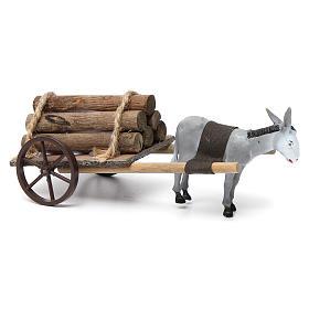 Cart with dark grey donkey 10x20x20 cm for Nativity Scene 8 cm s2