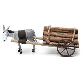 Cart with dark grey donkey 10x20x20 cm for Nativity Scene 8 cm s3