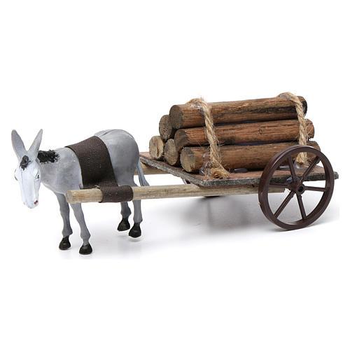 Cart with dark grey donkey 10x20x20 cm for Nativity Scene 8 cm 1