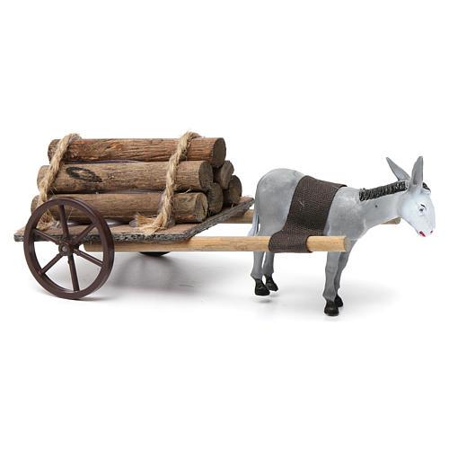 Cart with dark grey donkey 10x20x20 cm for Nativity Scene 8 cm 2