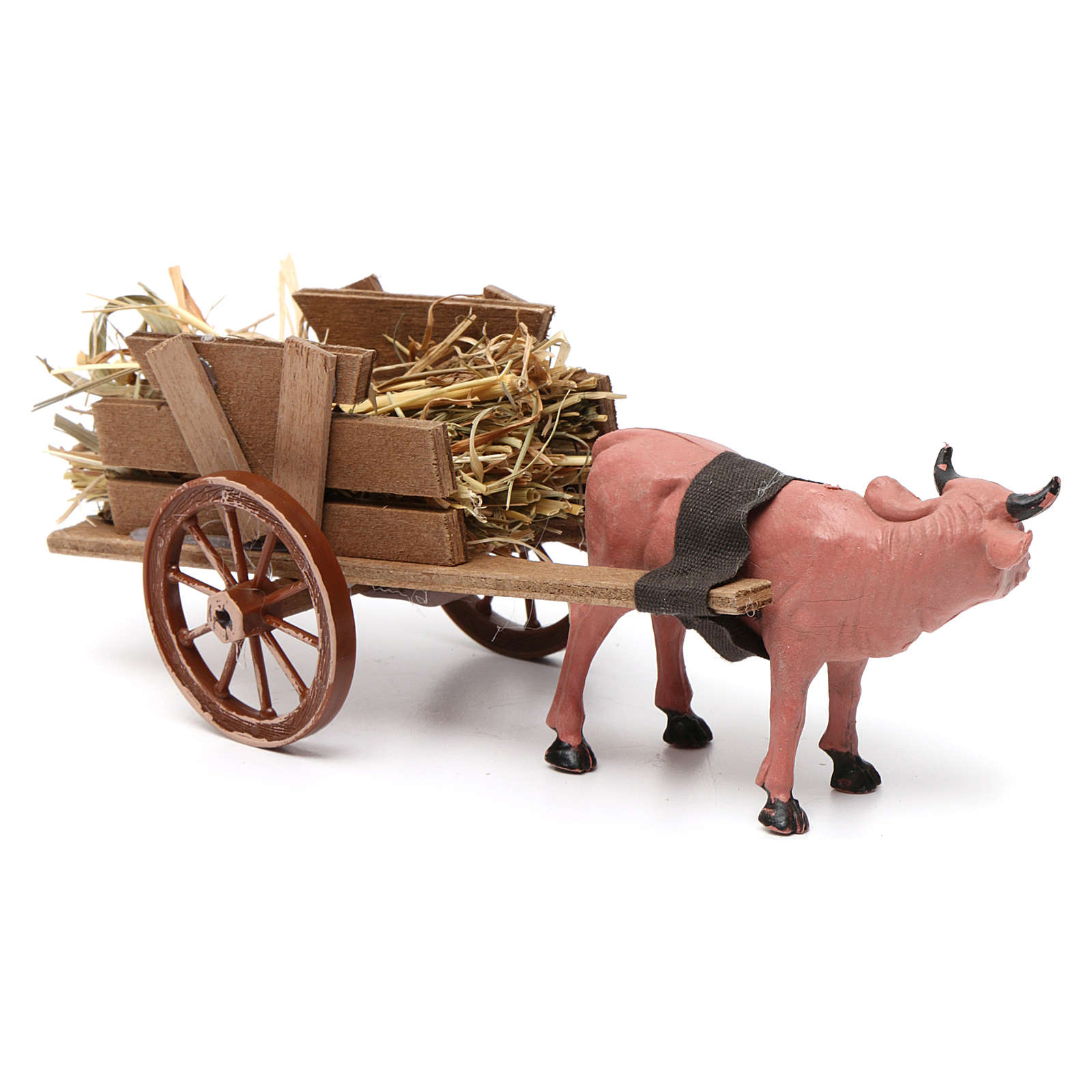 Cart with dark red ox 10x20x10 cm for Nativity Scene 8 cm 3