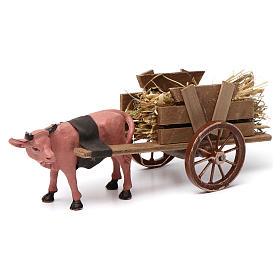 Cart with dark red ox 10x20x10 cm for Nativity Scene 8 cm s1