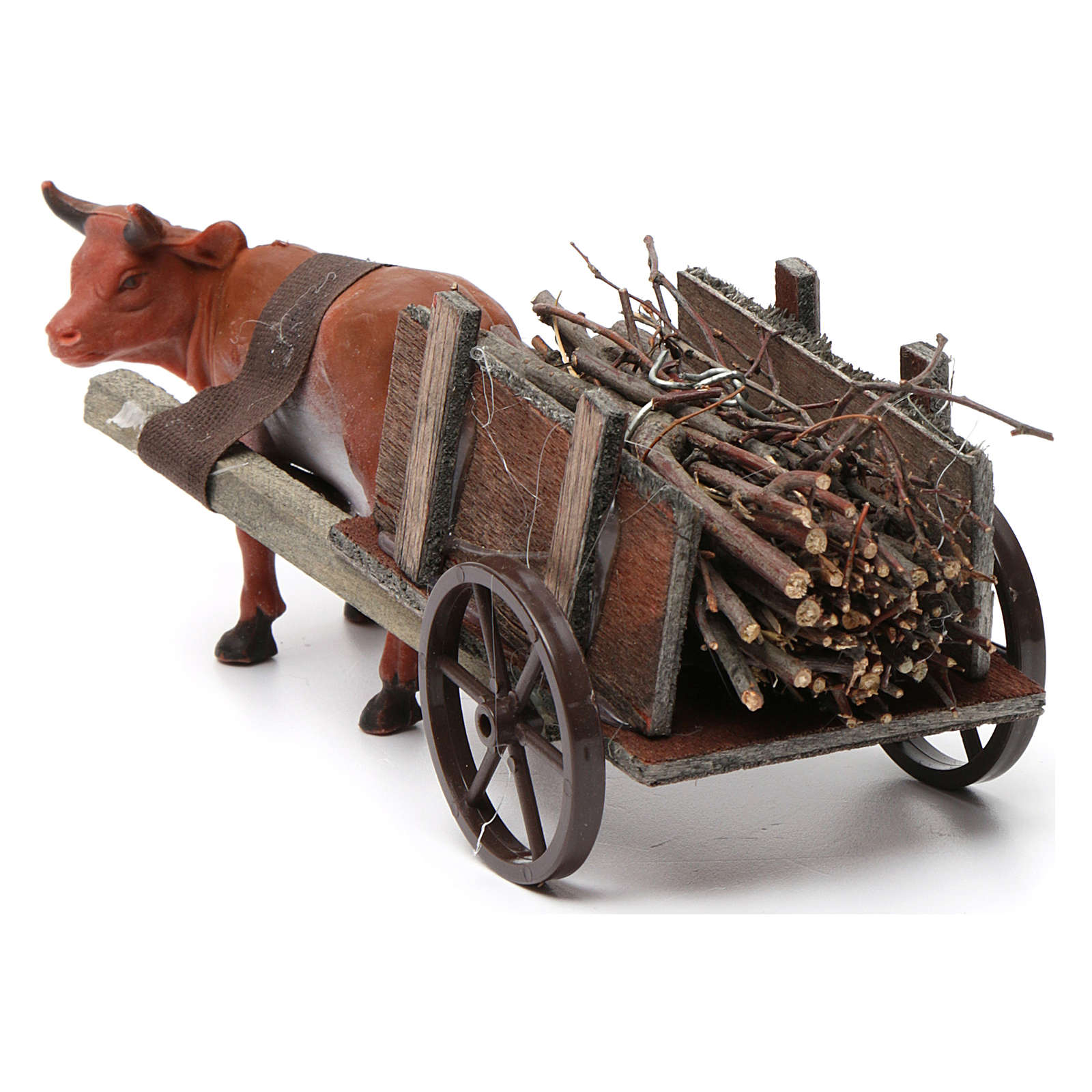 Cart with brown ox 10x20x10 cm for Nativity Scene 8 cm 3