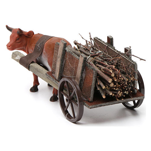 Cart with brown ox 10x20x10 cm for Nativity Scene 8 cm 4