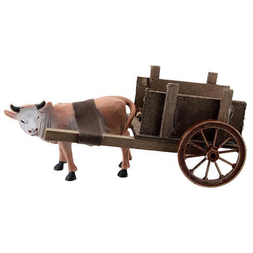 Carro con buey marrón 10x20x10 cm para belenes cm 1