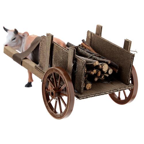 Carro con buey marrón 10x20x10 cm para belenes cm 3
