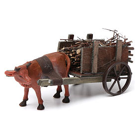 Wózek z wołem brązowym 10x20x10 cm do szopki 8 cm s1