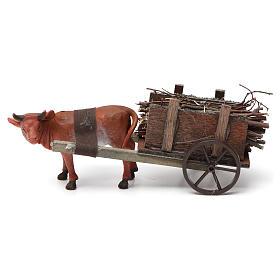 Wózek z wołem brązowym 10x20x10 cm do szopki 8 cm s3