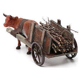 Wózek z wołem brązowym 10x20x10 cm do szopki 8 cm s4