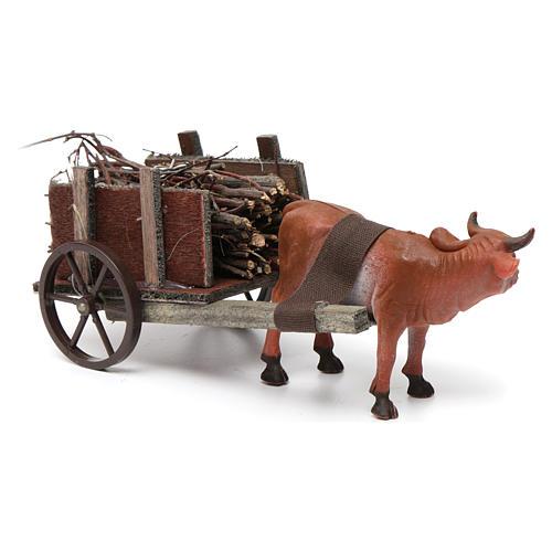 Wózek z wołem brązowym 10x20x10 cm do szopki 8 cm 2