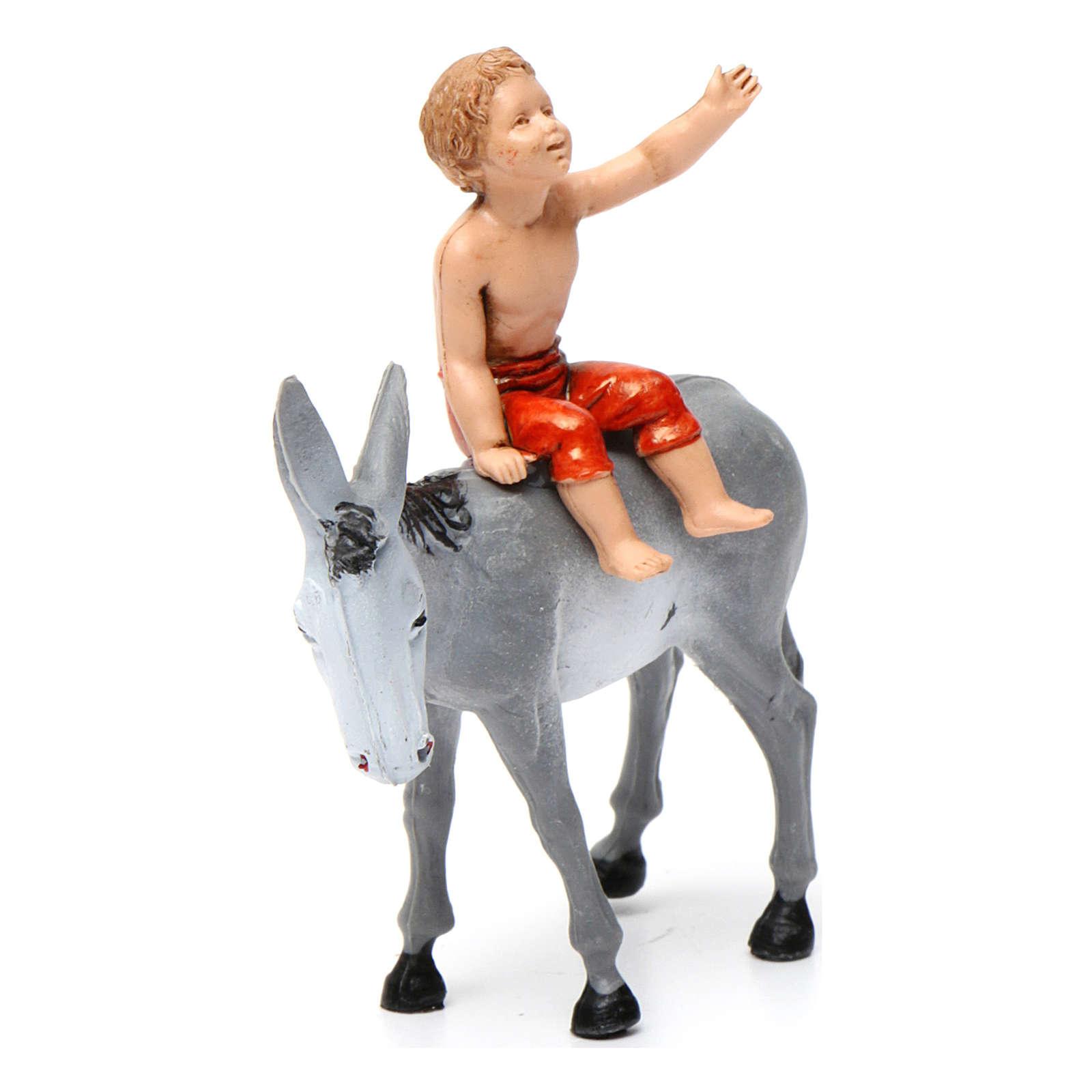 Boy on donkey 10x10x5 cm for Nativity Scene 10 cm 3
