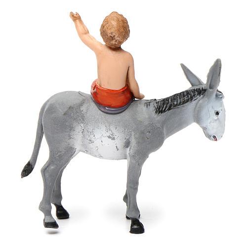 Boy on donkey 10x10x5 cm for Nativity Scene 10 cm 4
