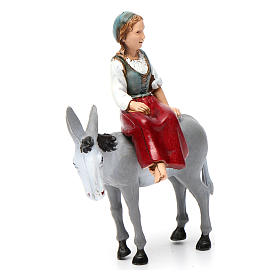 Girl on donkey 10x10x5 cm for Nativity Scene 10 cm s3