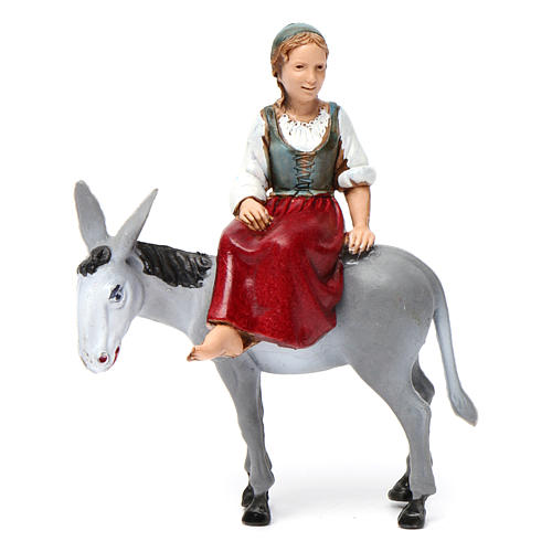 Girl on donkey 10x10x5 cm for Nativity Scene 10 cm 1