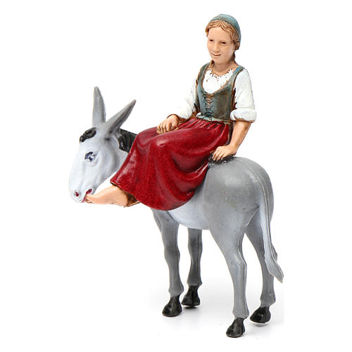 Girl on donkey 10x10x5 cm for Nativity Scene 10 cm 2