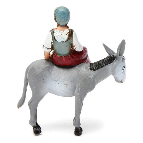 Girl on donkey 10x10x5 cm for Nativity Scene 10 cm 4