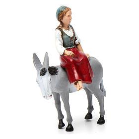 Niña sobre burro 10x10x5 cm para belén 10 cm de altura media s3