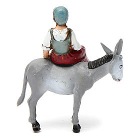 Girl on a Donkey 10X10X5 cm for 10 cm Nativity s4