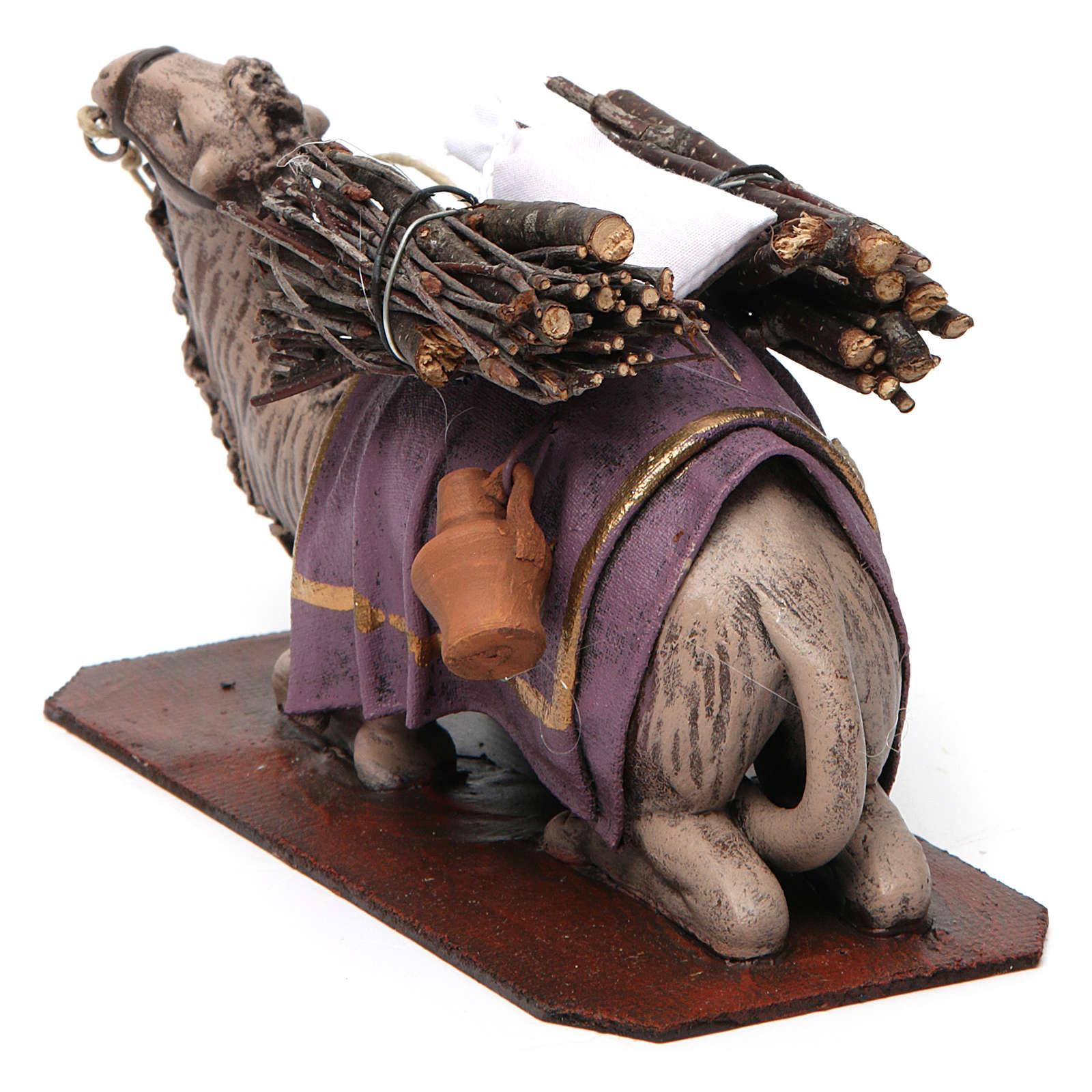 Cammello in ginocchio con carico presepe 14 cm terracotta 3
