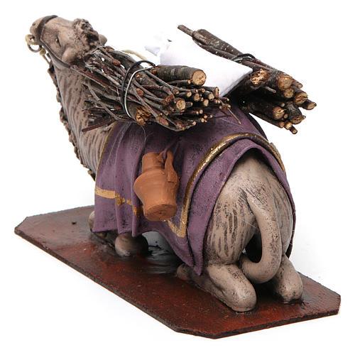 Cammello in ginocchio con carico presepe 14 cm terracotta 4