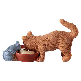 Cat with mouse 10-12 cm in resin for Nativity Scene s2