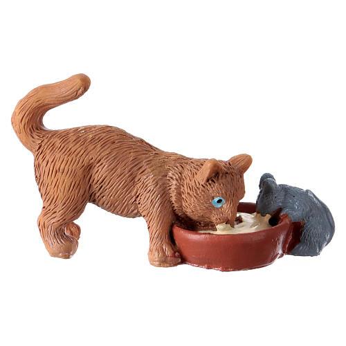Gato con ratón h 10-12 cm de altura media resina para belén 1