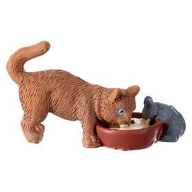 Gatto con topo h 10-12 cm resina per presepe s1
