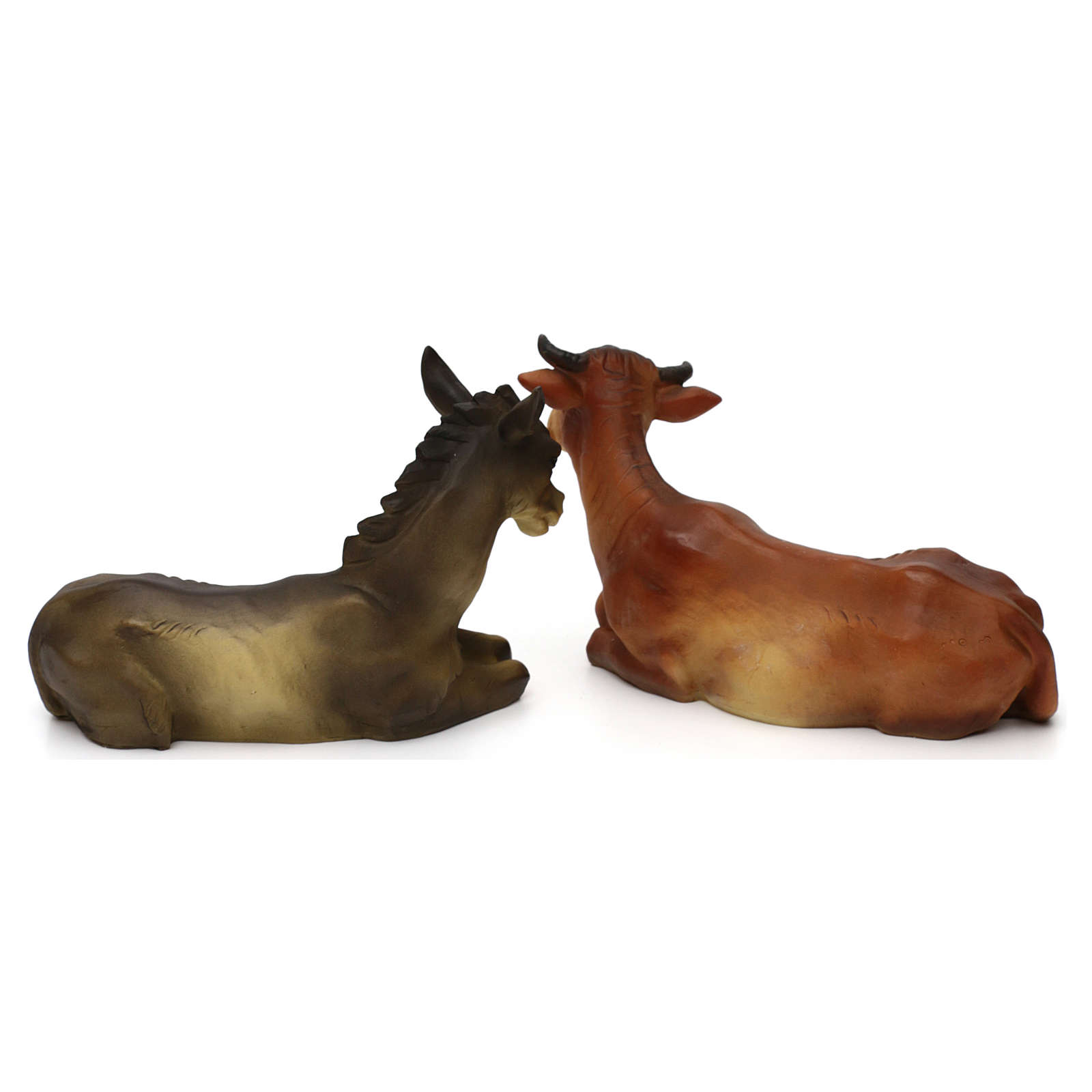 Nativity scene figurines, donkey and ox in resin for 25-30 cm Nativity scene 3