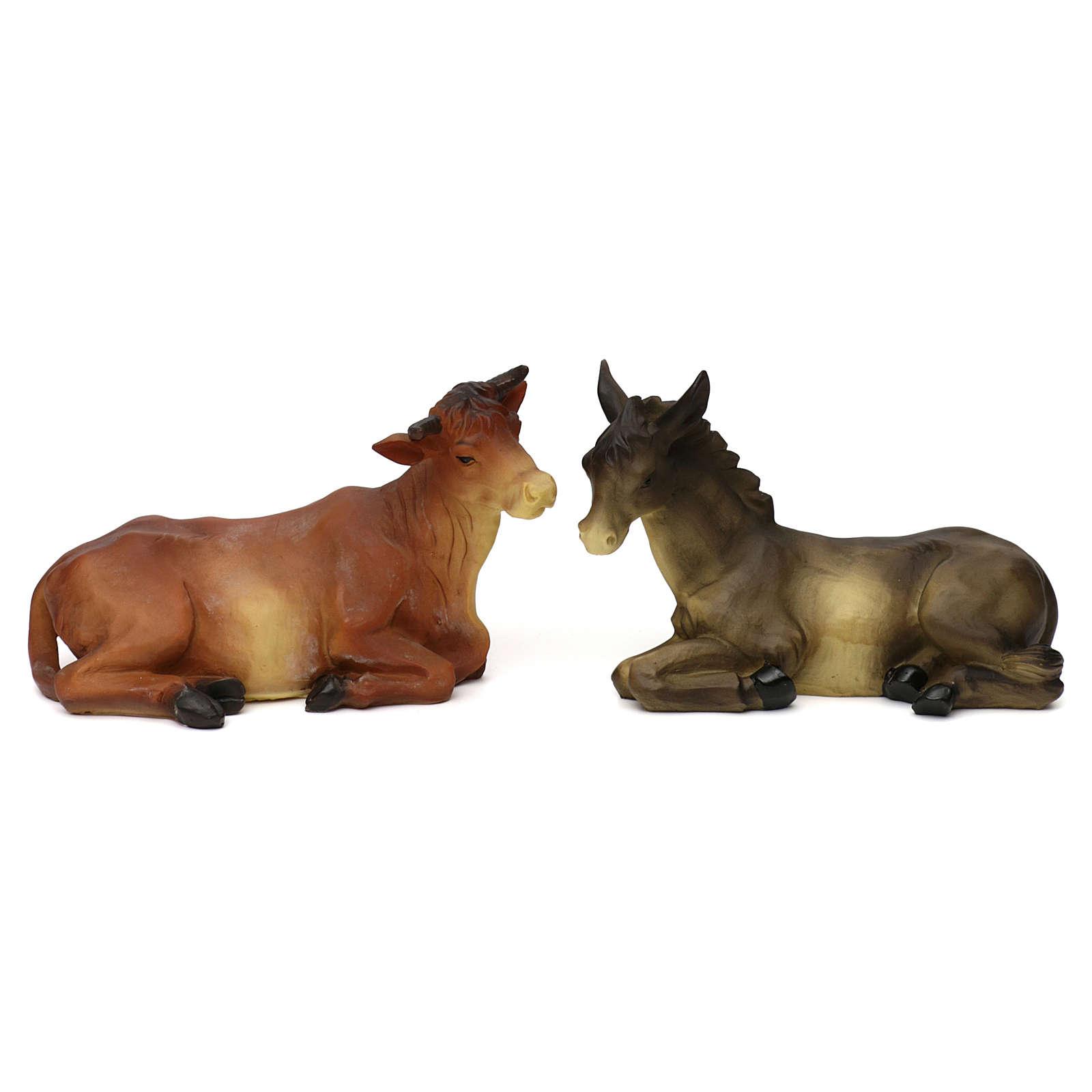 Boeuf et âne résine colorée pour crèche 25-30 cm 3