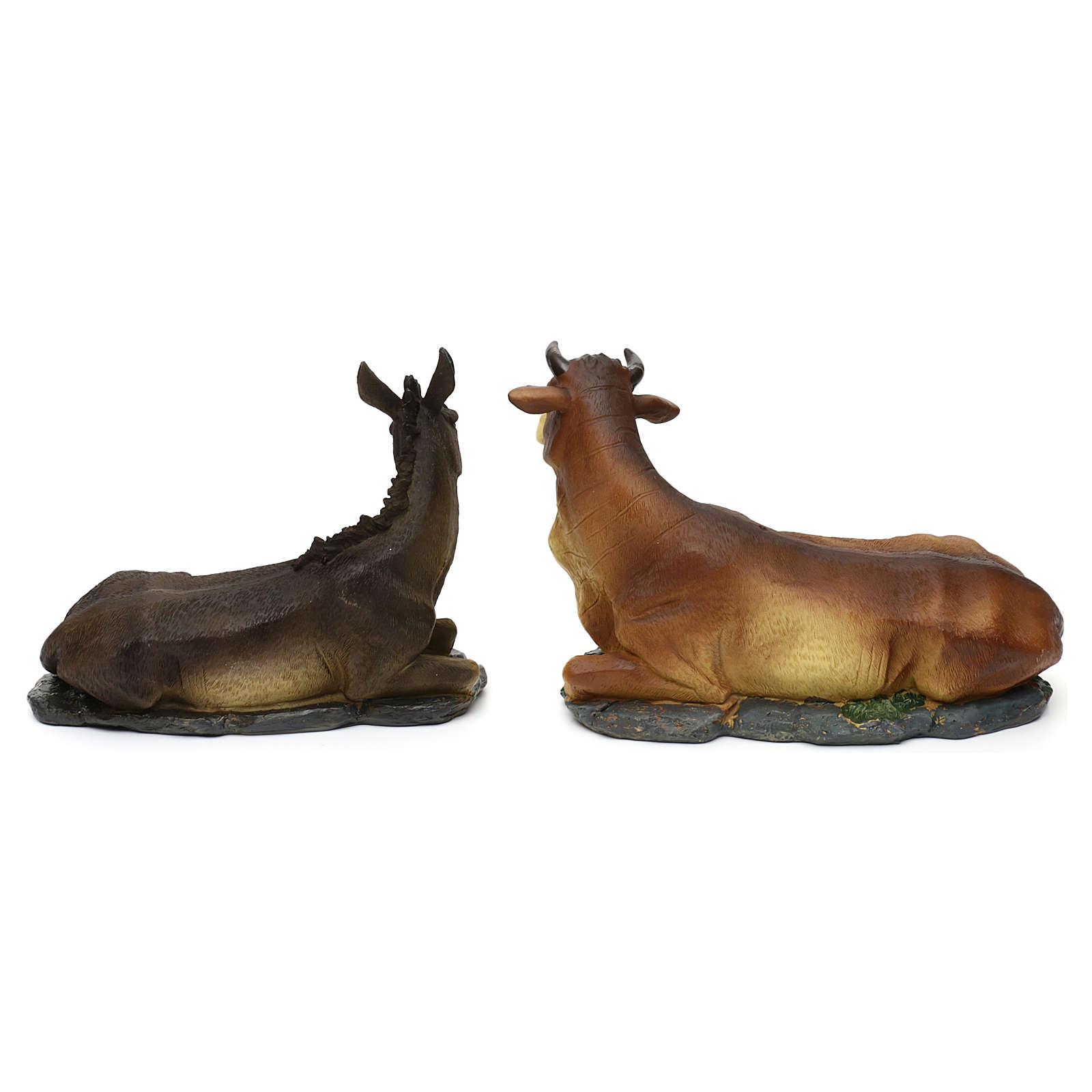 Nativity scene figurines, donkey and ox in resin for 42 cm Nativity scene 3