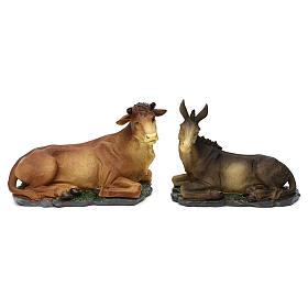 Nativity scene figurines, donkey and ox in resin for 42 cm Nativity scene s1