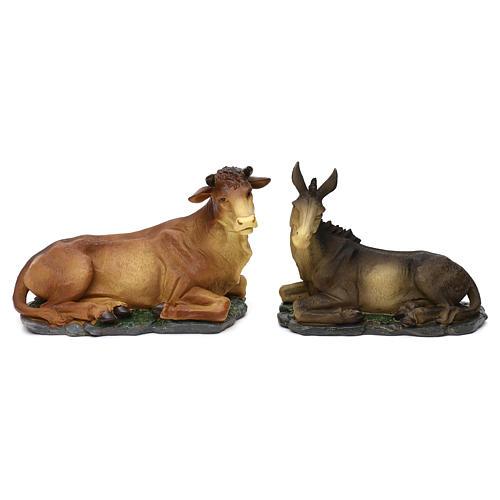 Nativity scene figurines, donkey and ox in resin for 42 cm Nativity scene 1
