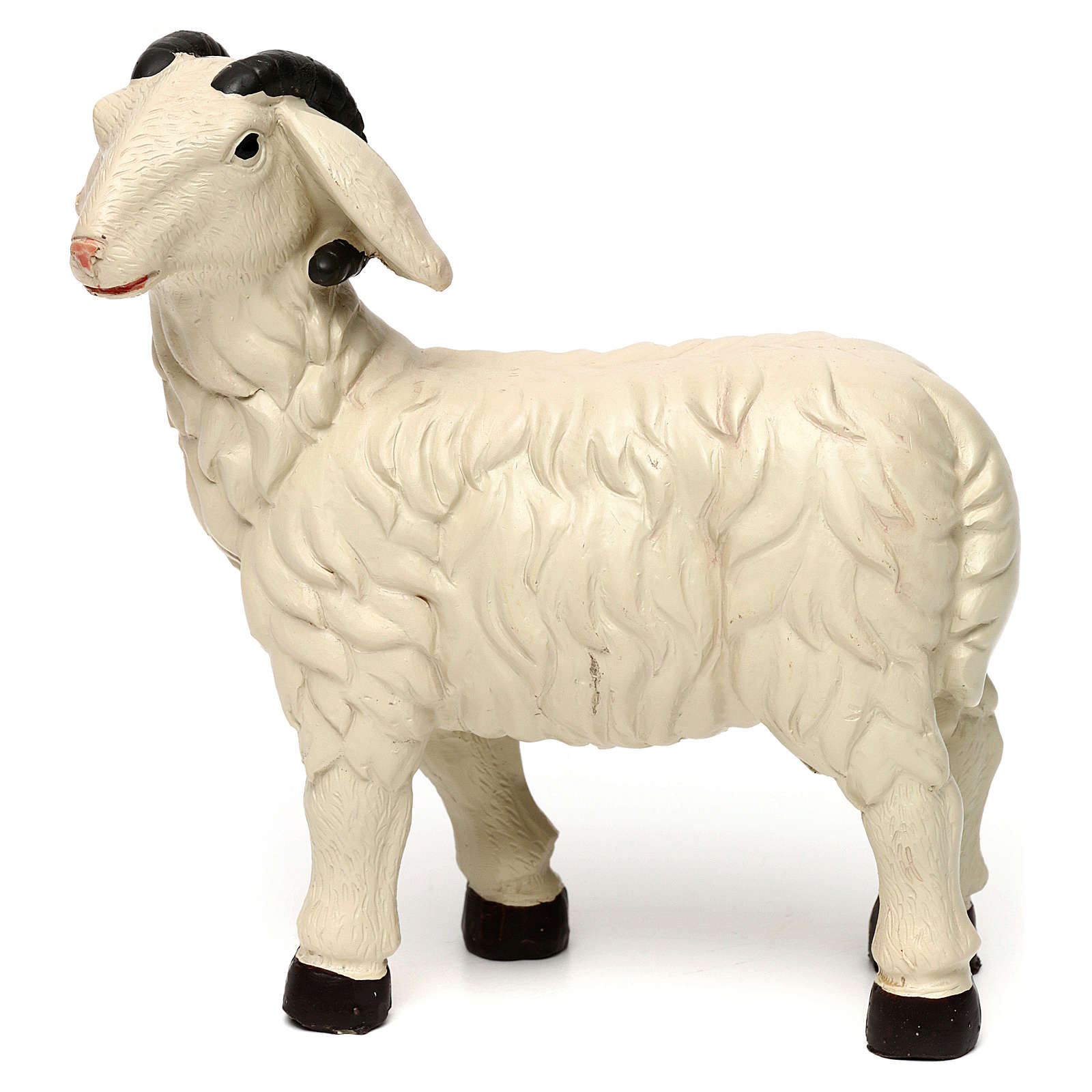 3 Sheep Set with ram, in colored resin for 25-30 cm nativity 3
