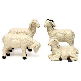 Animals for Nativity Scene: 3 Sheep Set with ram, in colored resin for 25-30 cm nativity
