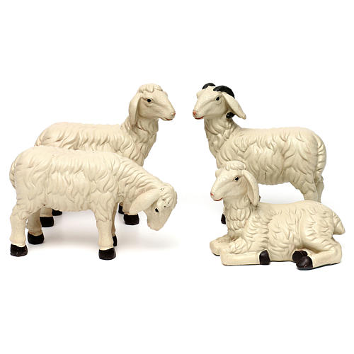 3 Sheep Set with ram, in colored resin for 25-30 cm nativity 1