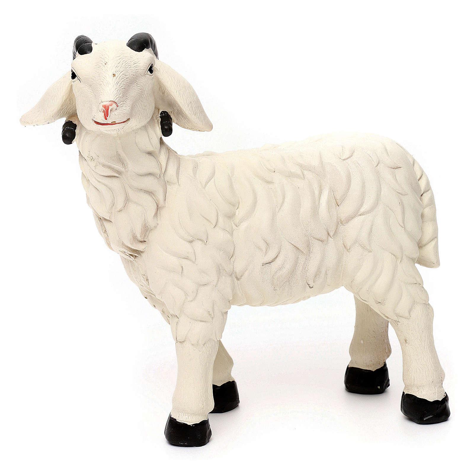 3 Pecore con ariete resina colorata per presepe 35-40 cm 3