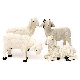 Animali presepe: 3 Pecore con ariete resina colorata per presepe 35-40 cm