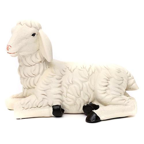 3 Pecore con ariete resina colorata per presepe 35-40 cm 2